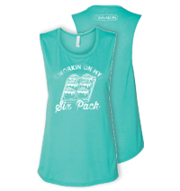 Working On My Six Pack Ladies Tank - Teal Thumbnail